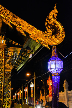 lamp and dragon roof architecture lanna Thailand