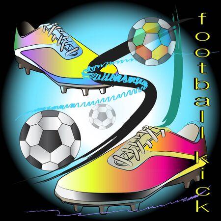 Sketch art shoot football action brush strokes