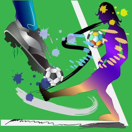 Man playing football in art brush style.
