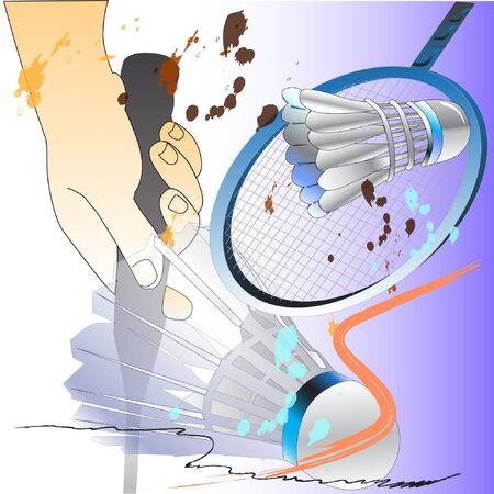 badminton sport and hands action brush. Illustration