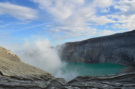 Blue sky and white cloud over Kawah Ijen volcanic crater,active volcano and the worlds largest green acidic lake,Java, Indonesia