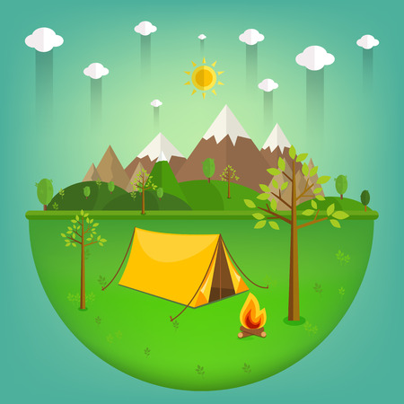 fishing village: summer landscape. Morning landscape in the mountains. Solitude in nature by the river. Weekend in the tent. Hiking and camping. Vector flat illustration