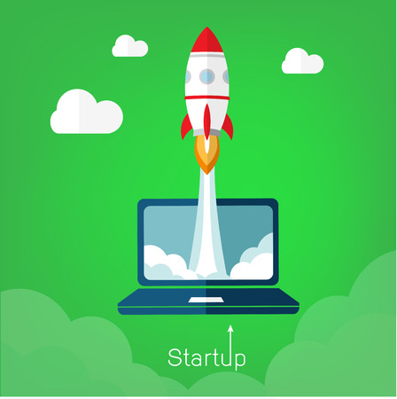 Vector illustration concept for new business project start up in flat style. Rocket and clouds silhouette - launching new product or service. Technology development process. Innovation idea.