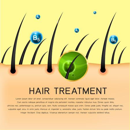 Il trattamento attivo ingrediente in profondità nei capelli e cuoio capelluto. Vettoriali