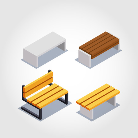 Isometric icons of a sofa and an armchair, vector.