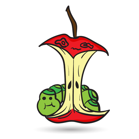 Red apple eaten by a fat worm