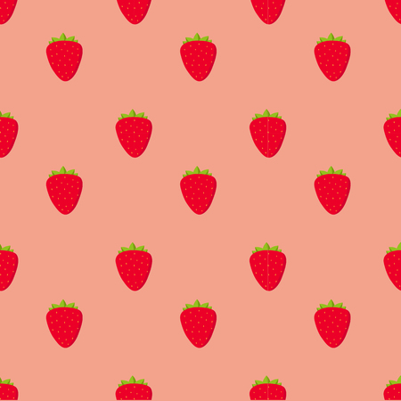 repetitive: Seamless pattern with strawberry fruit on white background, vector illustration
