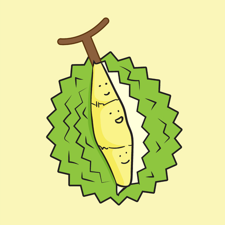 king thailand: thailand king of fruits durian cartoon character. Oriental fruit with overpower odour and funny spikes design for organic farming or vegetarian nutrition theme