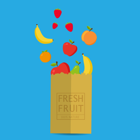 Paper package with fresh healthy produce.Fresh Fruit 100% Nature.Banana,Apple,Orange,Strawberry. Vector flat design illustration