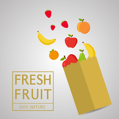 Paper package with fresh healthy produce.Fresh Fruit 100% Nature.Banana,Apple,Orange,Strawberry. Vector flat design illustration