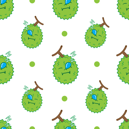 DURIAN pattern seamless.thailand king of fruits DURIAN cartoon character. Oriental fruit with overpower odour and funny spikes design for organic farming or vegetarian nutrition theme
