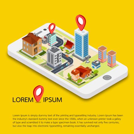Platte 3d isometrische mobiele GPS-navigatie kaarten vector. zoek vergrootglas glas, wereld silhouet pin.