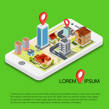 Flat 3d isometric mobile GPS navigation maps vector.  search magnifier glass, world silhouette pin.