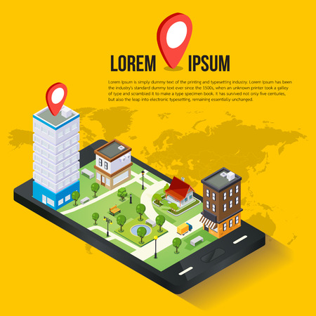map pin: 3d isometric mobile GPS navigation concept, Smartphone with city map application and marker pin pointer, vector