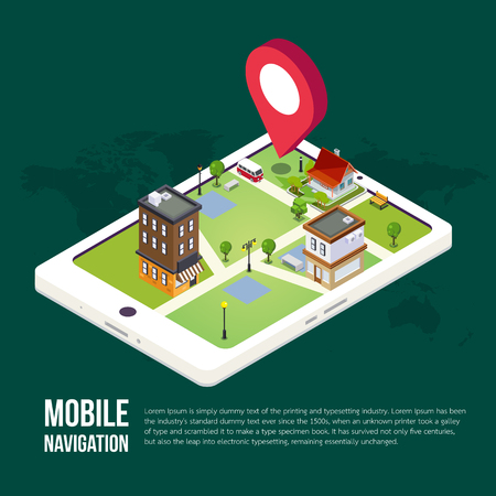 3d isometric mobile GPS navigation concept, Smartphone with city map application and marker pin pointer, vector Foto de archivo - 84063553