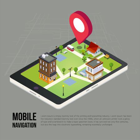 mobile app: 3d isometric mobile GPS navigation concept, Smartphone with city map application and marker pin pointer, vector