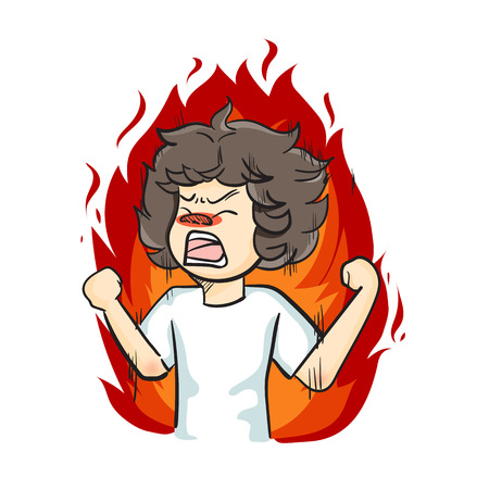 slingshot: Boy furious in flames