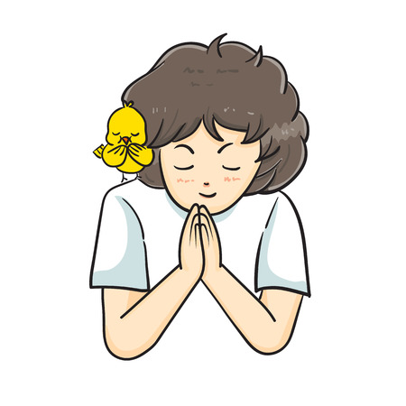 girl praying with a bird on her shoulder vector illustration
