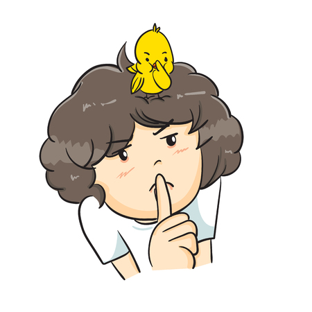 Child with bird on head, vector illustration on white background.