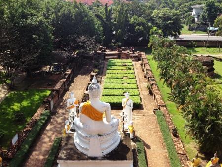 behind scenes: White Buddha figure in Ayudhaya Thailand Stock Photo