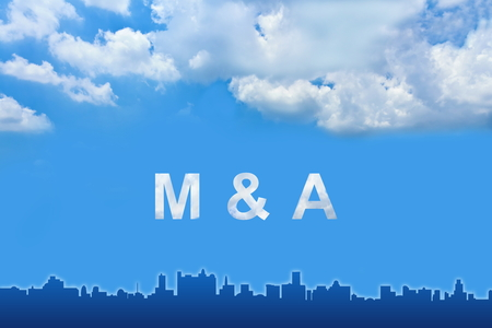 company merger: Merger and Acquisition (M&A) text on clouds with blue sky Stock Photo