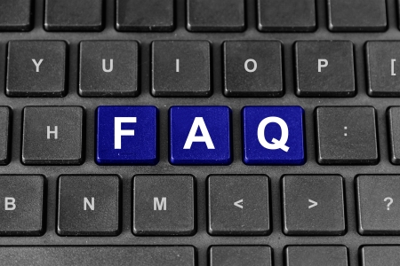 FAQ or Frequently asked questions blue word on keyboard photo