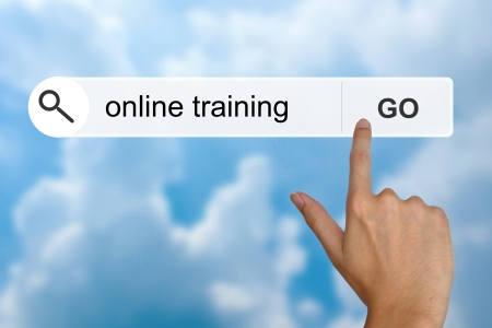 hand click online training button on search toolbar