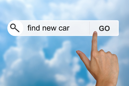 toolbar: find new car button on search toolbar Stock Photo