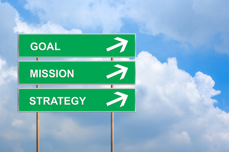 goal mission and strategy on green road sign with blue sky photo