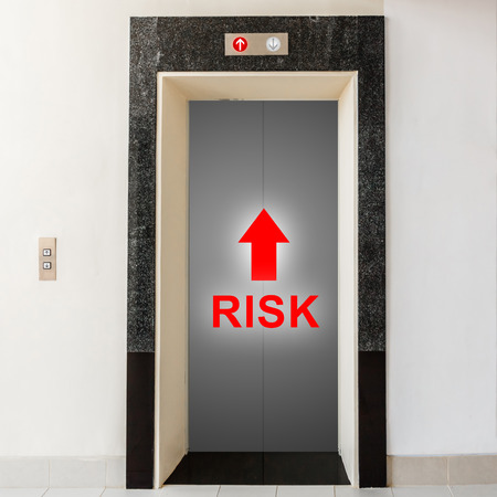 elevator with way to risk, business conceptual photo