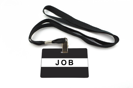 job badge with strip isolated on white background photo
