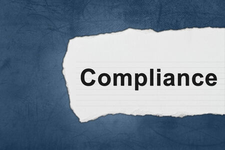 compliance with white paper tears on blue texture Stock Photo - 28422869