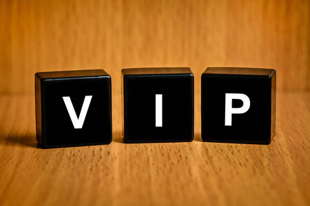 VIP or very important person text on black block photo