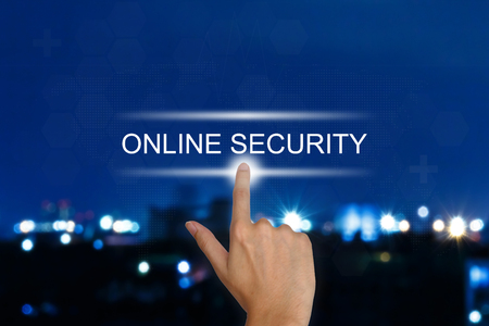 hand clicking online security button on a touch screen interface Stock Photo - 30080367