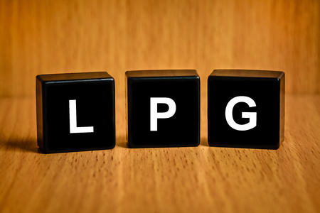 LPG or liquefied petroleum gas text on black block photo
