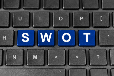 SWOT or strengths, weaknesses, opportunities, and threats blue word on keyboard photo