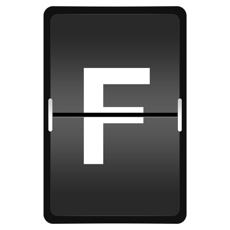 flipboard letter F with timetable style on white background photo