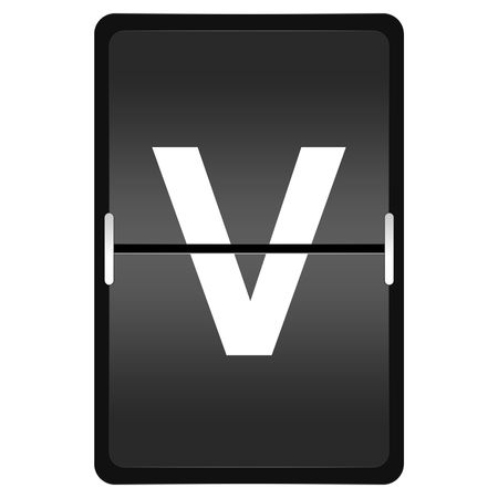 flipboard letter V with timetable style on white background photo