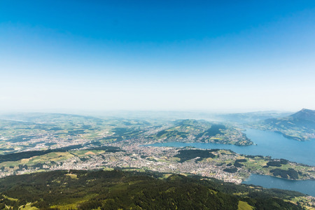 View from the mountain Pilatus at Lucerne, Switzerland, with copyspace photo