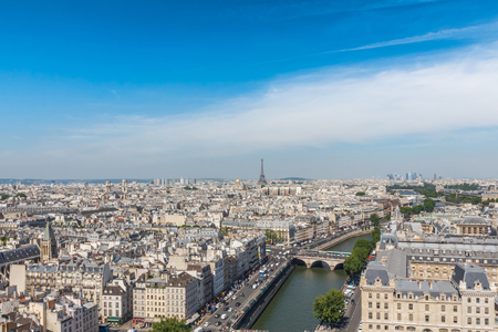 view of Paris from the Notre Dame Cathedral in Paris, France photo