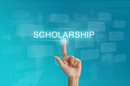 hand press on scholarship button on virtual screen photo