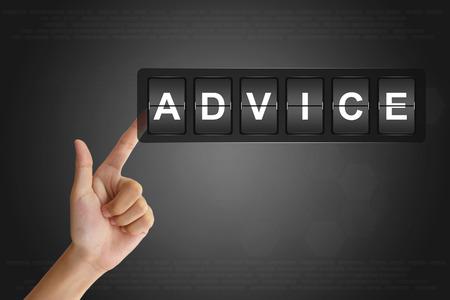 tax tips: hand clicking advice on Flip Board Display
