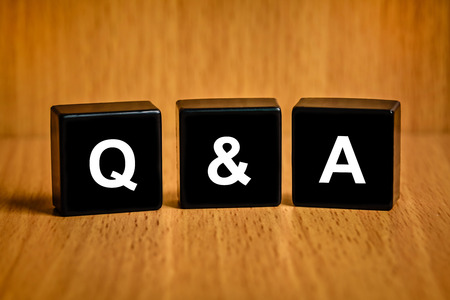 Q&A or Questions and answers text on black block