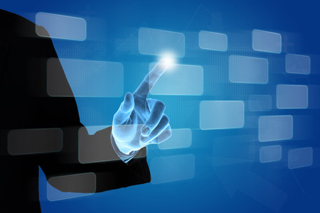 hand pushing button on touch screen interface, business concept photo