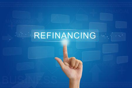presse à main sur le bouton de refinancement sur écran virtuel