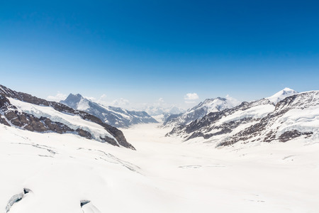 Aletsch Glacier landscape in the Jungfraujoch, Alps, Switzerland photo