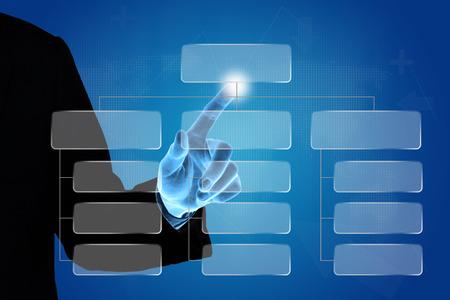 hand pushing organization chart, business concept