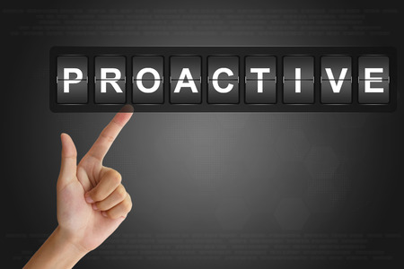 proactive: hand clicking proactive on Flip Board Display