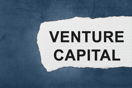 company ownership: venture capital with white paper tears on blue texture