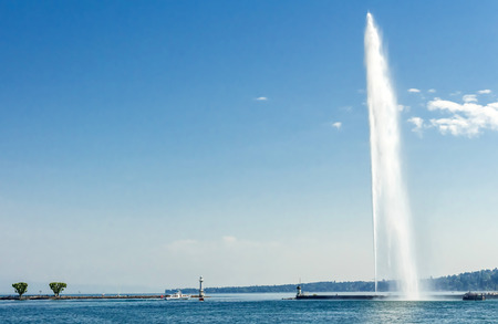 steam jet: The Geneva Water Fountain, Switzerland with copyspace